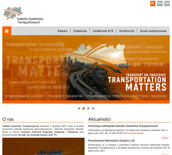 Strona internetowa w Joomla CMS - Katedra Systemów Transportowych PK